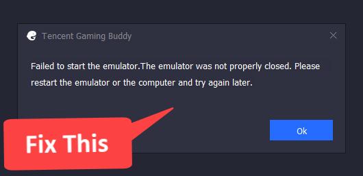 failed to start emulator fix