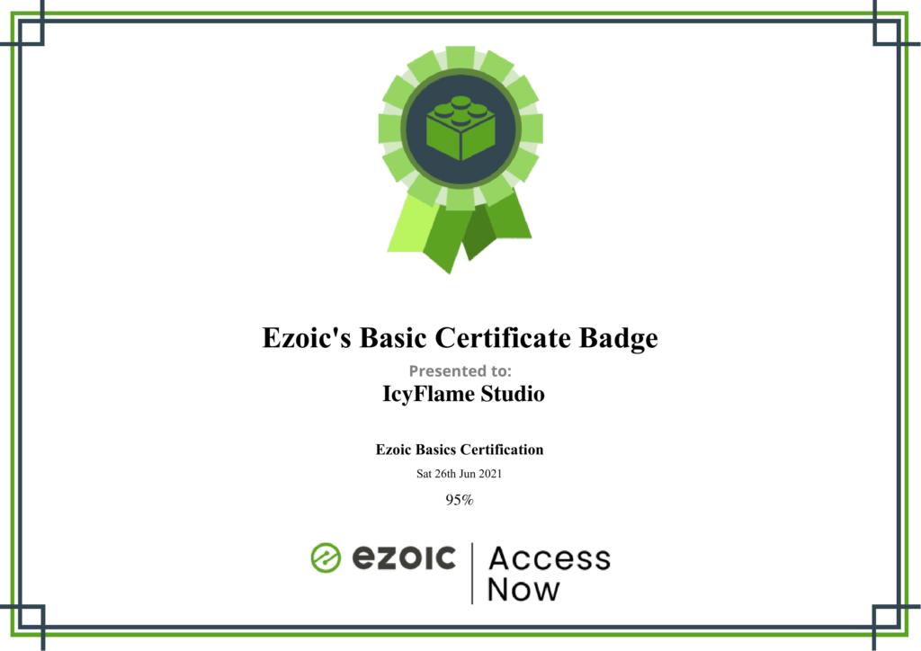 Ezoic Basic Certificate Badge