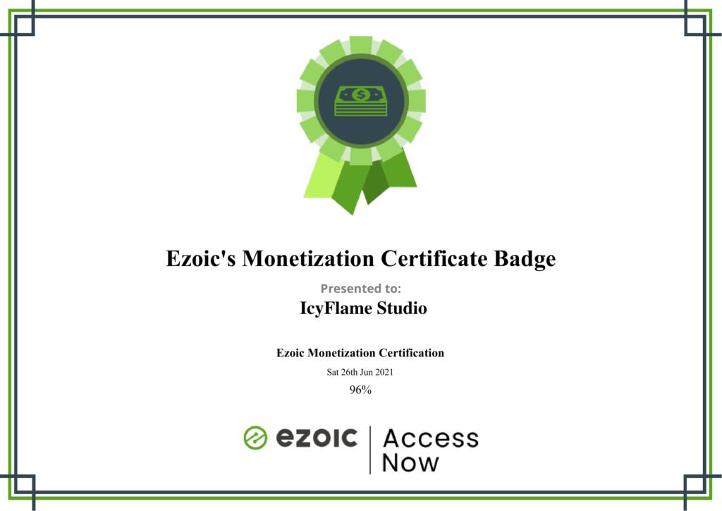 Ezoic Monetization Certificate Badge