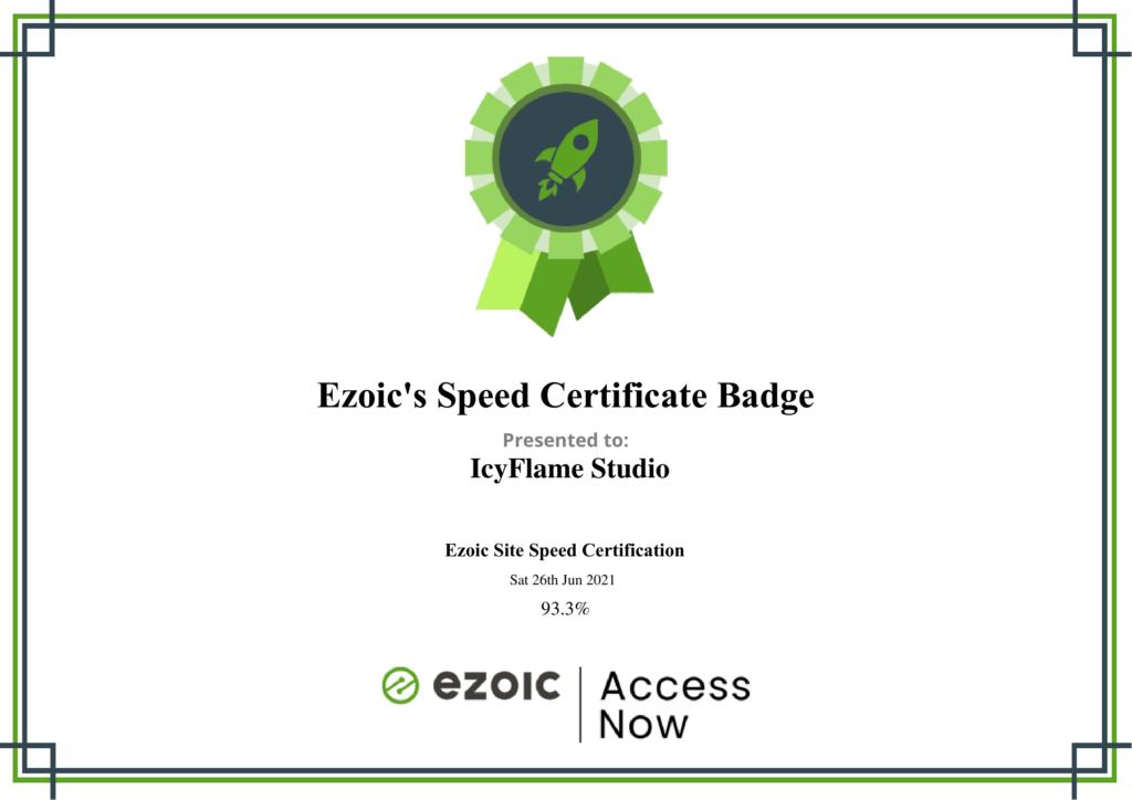 Ezoic Speed Certificate Badge