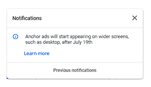 adsense notification about anchor ads