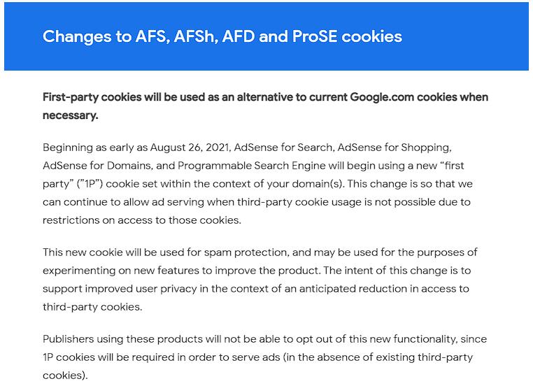 google adsense cookies changes